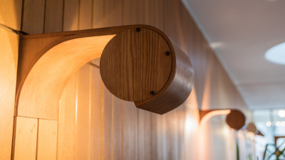 Vägglamporna i foajén är tillverkade i rökt ek, och sticker ut ur träpanelen i en rundad form. Ljuset är riktat nedåt och speglas i träpanelen på väggen.