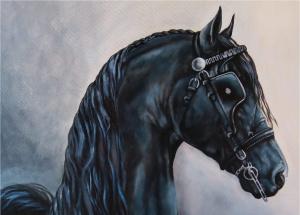 Målning av ett svart hästhuvud